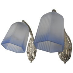 Pair of French Art Deco Bronze and White and Blue Frosted Glass Wall Sconces