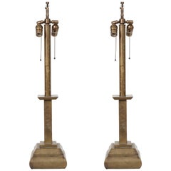 Pair of French Art Deco Bronze Lamps