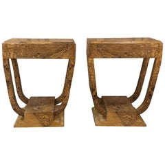 Pair of French Art Deco Burl Walnut End Tables