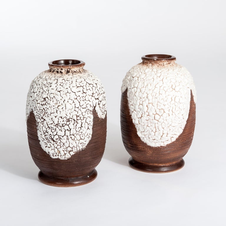 Hand-Crafted Pair of French Art Deco Ceramic Vases Brown-Offhwite by Louis Auguste Dage For Sale