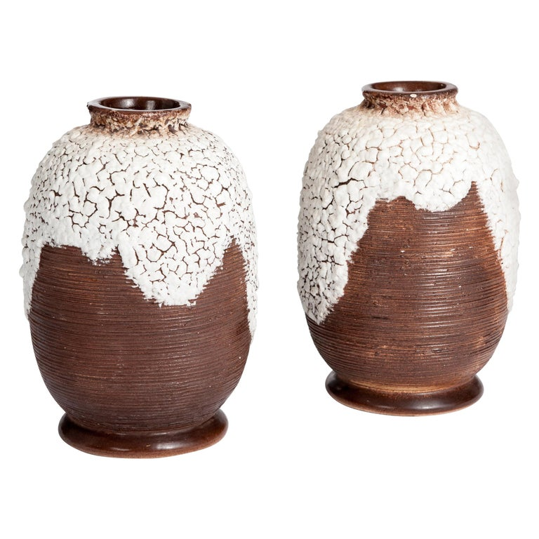Pair of French Art Deco Ceramic Vases Brown-Offhwite by Louis Auguste Dage For Sale