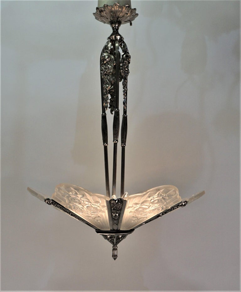Pair of French Art Deco Chandelier by Pierre Gilles In Good Condition For Sale In Fairfax, VA