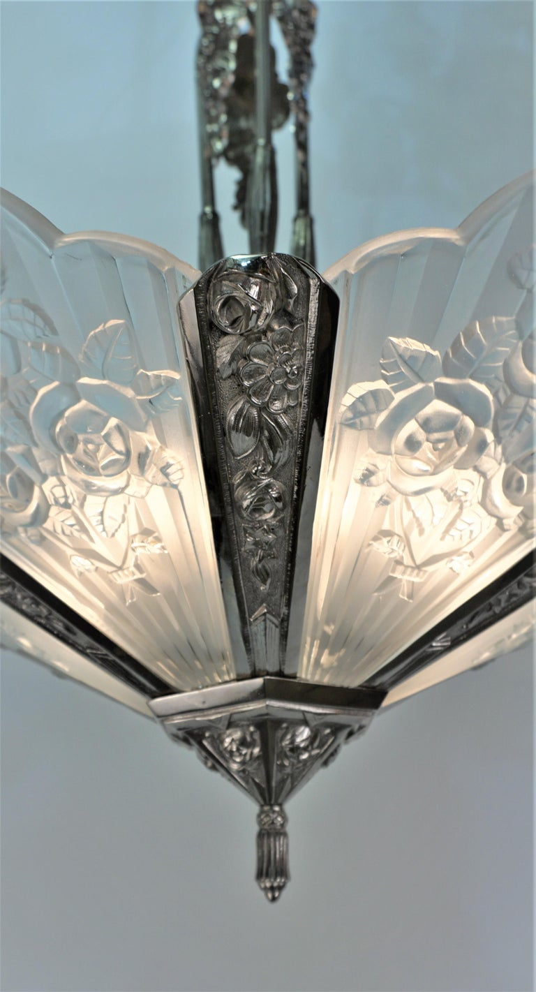 Pair of French Art Deco Chandelier by Pierre Gilles For Sale 2