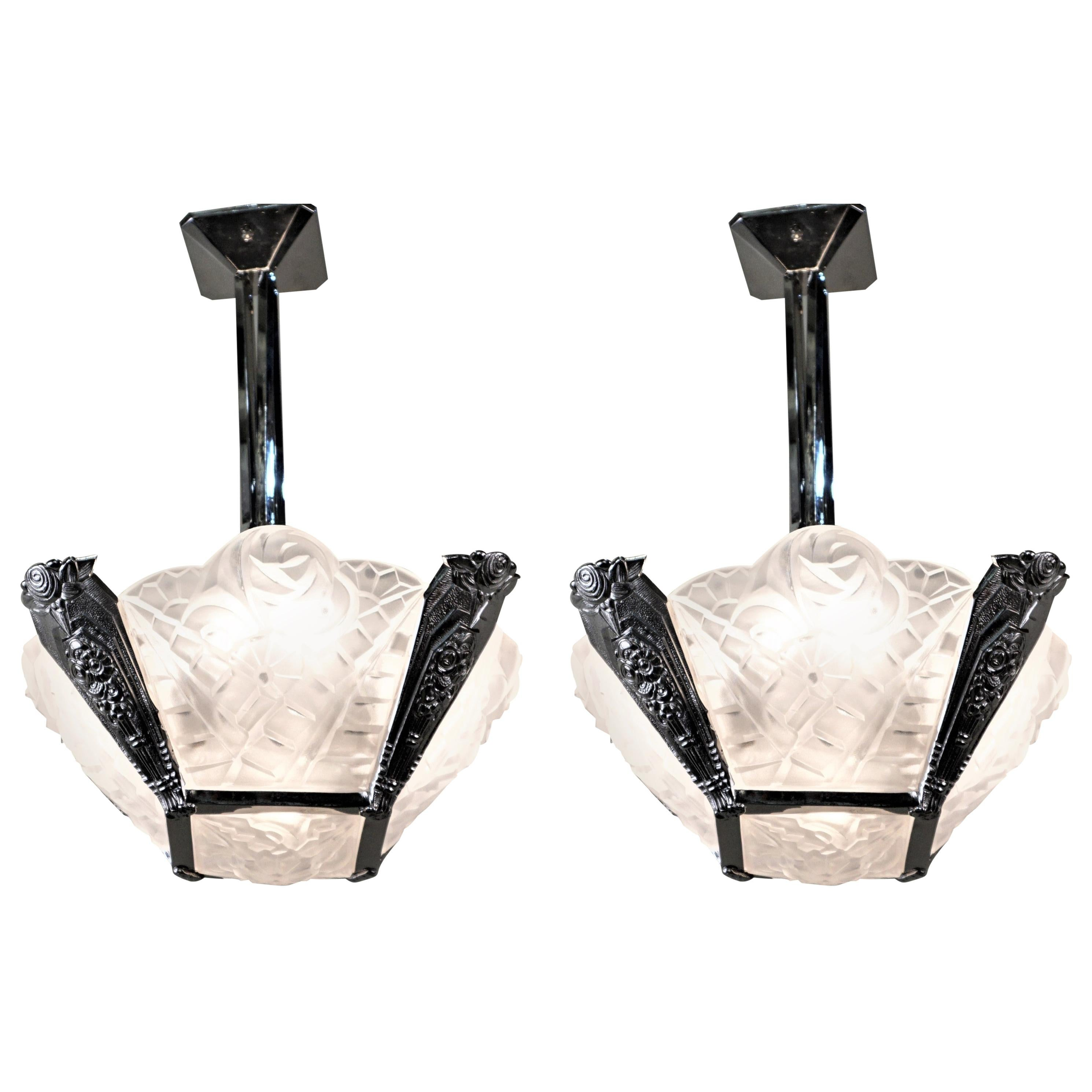 Pair of French Art Deco Chandelier by Degué