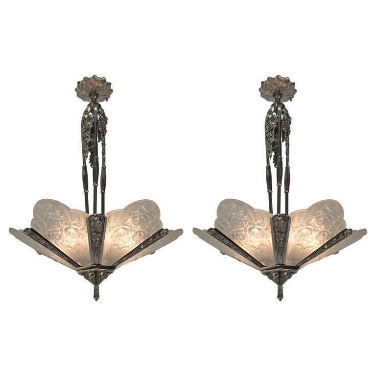 Pair of French Art Deco Chandelier by Pierre Gilles For Sale