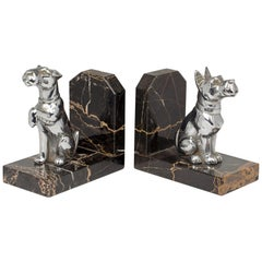 Pair of French Art Deco Chrome and Marble Scottie Dog Bookends