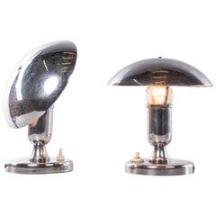 Pair of French Art Deco Chrome Mushroom Lamps