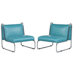 Pair of French Art Deco Chrome Tubular Frame and Leather Lounge Chairs