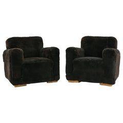Pair of French Art Deco Club Chairs in Brown Lamb's Wool