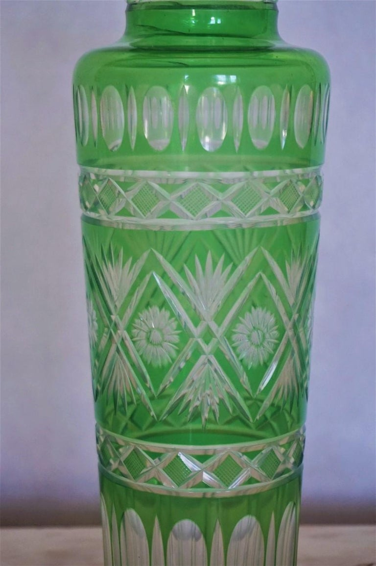 20th Century Pair of French Art Deco Crystal Vases Green Cut to Clear For Sale