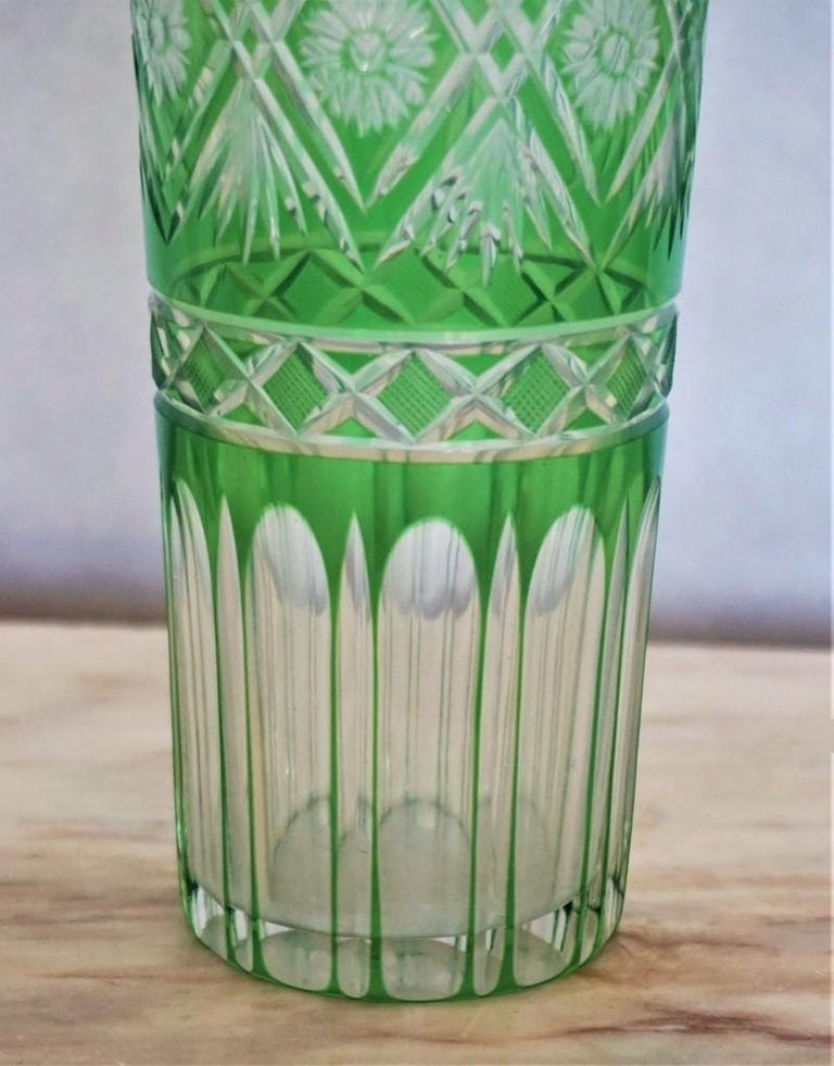 Pair of French Art Deco Crystal Vases Green Cut to Clear For Sale 2