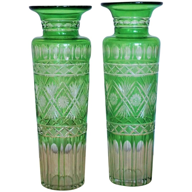 Pair of French Art Deco Crystal Vases Green Cut to Clear For Sale