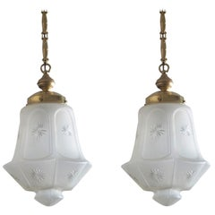 Pair of French Art Deco Cut Frosted Glass Pendant, Lantern Brass Mounted, 1920s