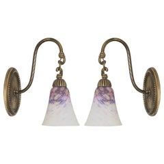 Pair of French Art Deco Degué Style Pate de Verre Glass Wall Sconce, Paris 1920s