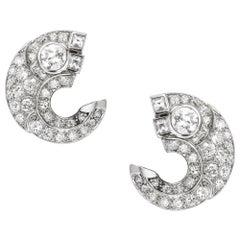 Pair of French Art Deco Diamond-Set Scroll Ear Clips