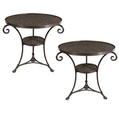 Pair of French Art Deco Directoire Style Bronze and Granite Gueridon Tables