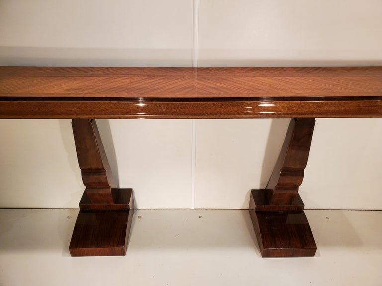 Pair of French Art Deco Double Legged Palisander Consoles For Sale 6