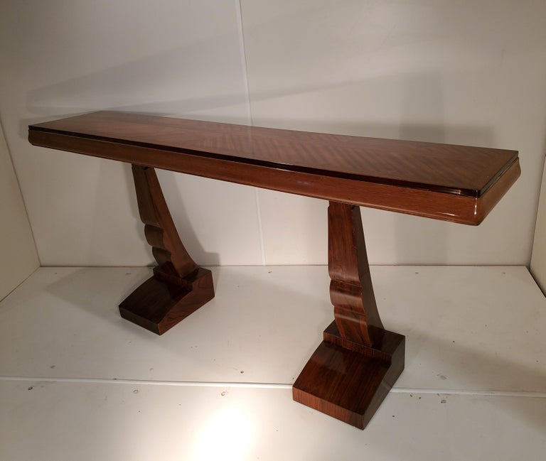 Pair of French Art Deco Double Legged Palisander Consoles For Sale 11