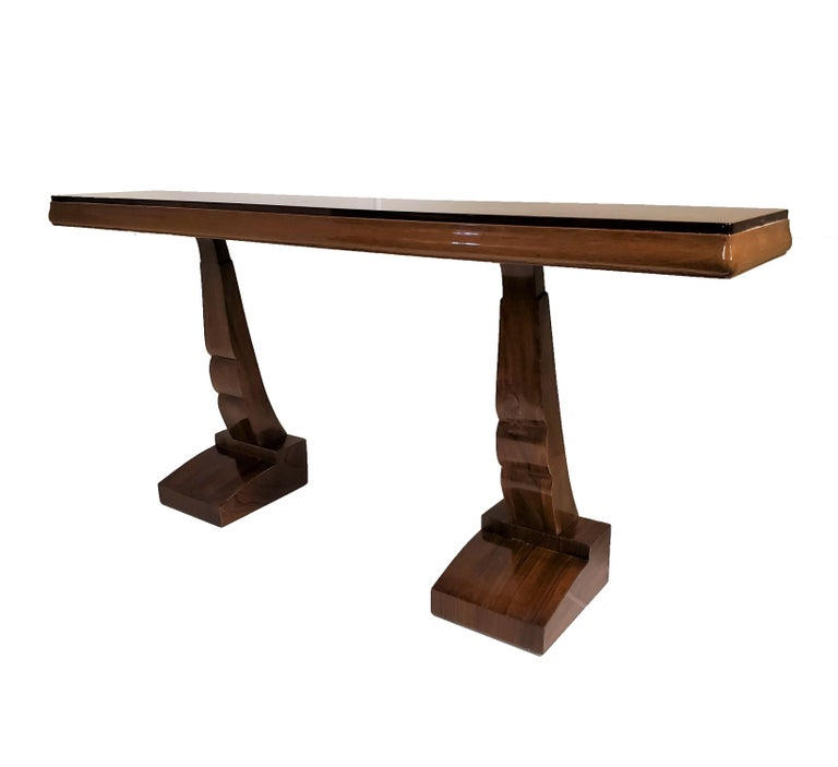 Pair of French Art Deco Double Legged Palisander Consoles For Sale 12