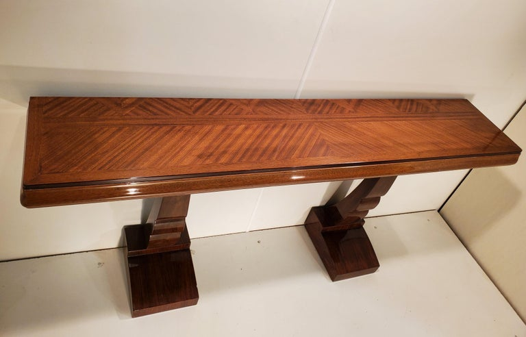 Pair of French Art Deco Double Legged Palisander Consoles For Sale 15