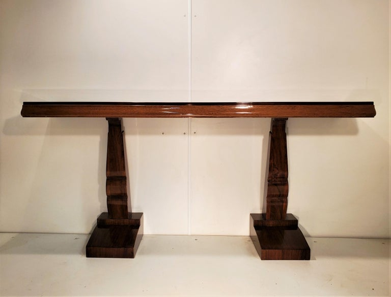 Pair of French Art Deco Double Legged Palisander Consoles For Sale 16