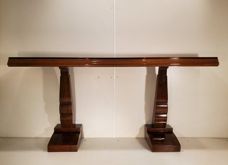 Pair of French Art Deco Double Legged Palisander Consoles In Good Condition For Sale In New York City, NY