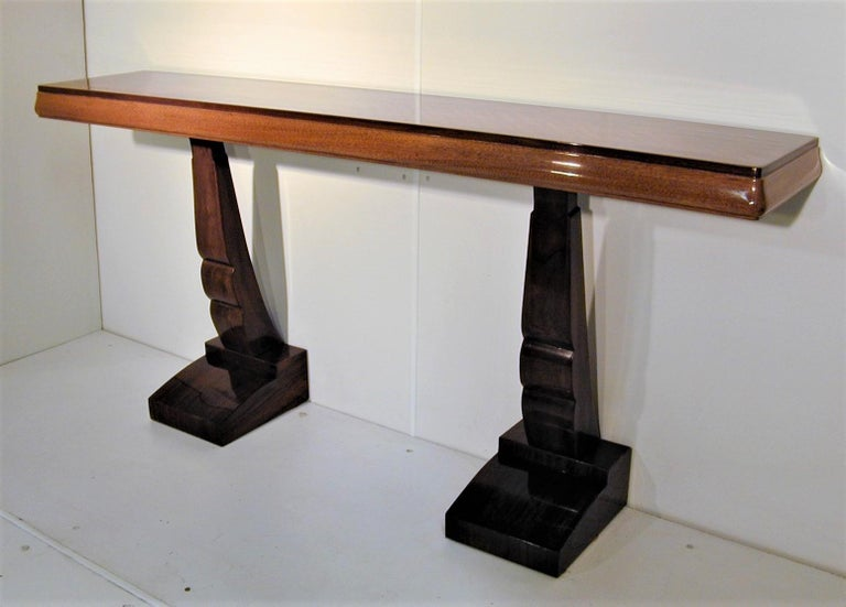 20th Century Pair of French Art Deco Double Legged Palisander Consoles For Sale