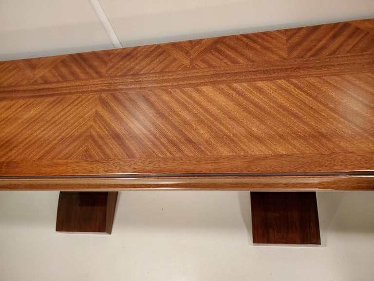Pair of French Art Deco Double Legged Palisander Consoles For Sale 2