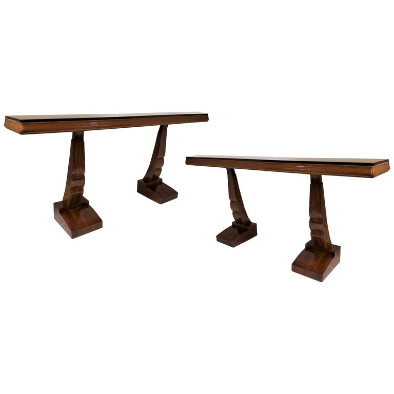 Pair of French Art Deco Double Legged Palisander Consoles For Sale