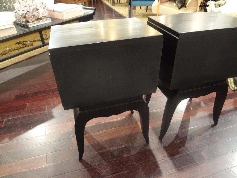 Pair of French Art Deco Ebonized Chests in the Manner of Jules Leleu For Sale 1