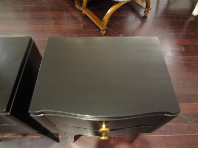 Pair of French Art Deco Ebonized Chests in the Manner of Jules Leleu For Sale 2