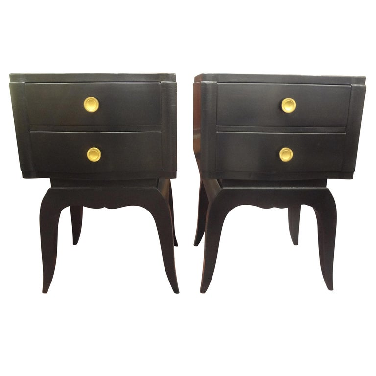Pair of French Art Deco Ebonized Chests in the Manner of Jules Leleu For Sale