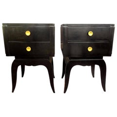 Pair of French Art Deco Ebonized Chests in the Manner of Jules Leleu