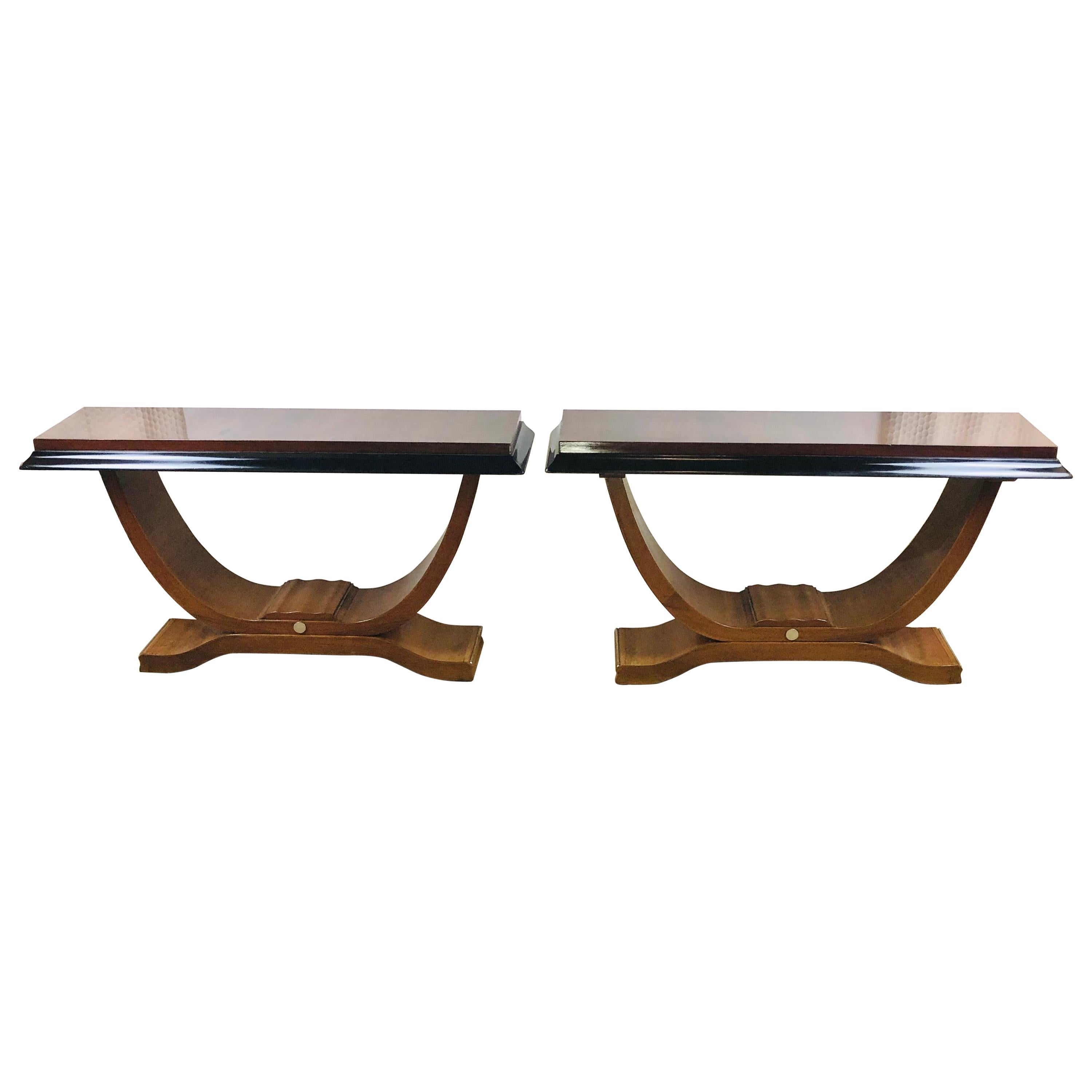 Pair of French Art Deco Elegant Consoles with Nickeled Trim