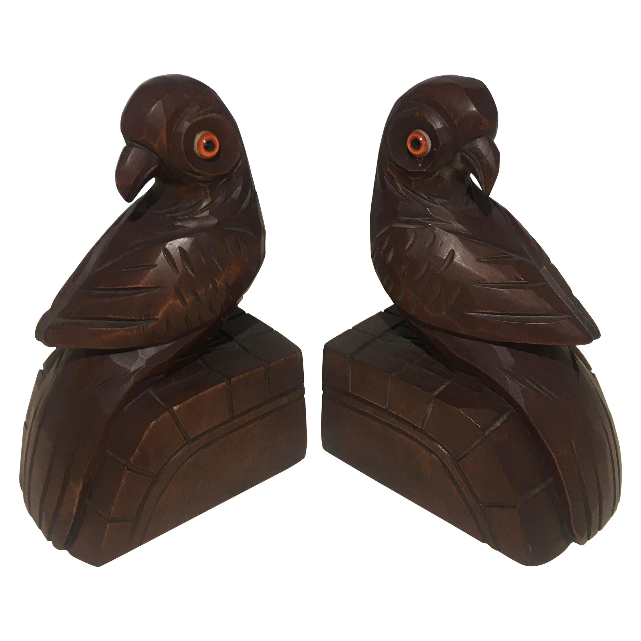 Pair of French Art Deco Era Hand Carved Wooden Bookends