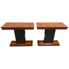 Pair of French Art Deco Exotic Macassar Console Table 1940s