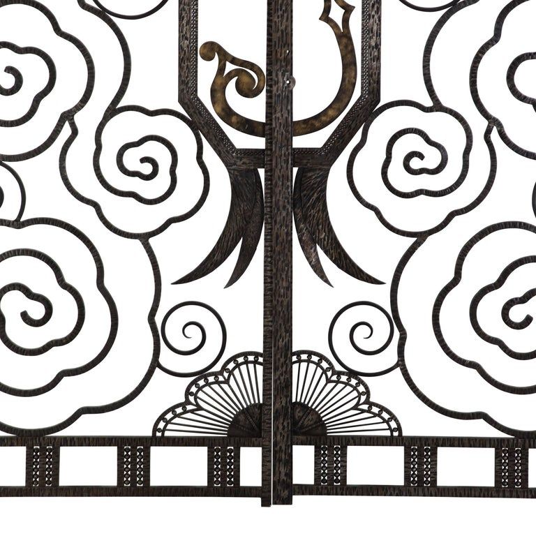 Wrought Iron Pair of French Art Deco Gates For Sale