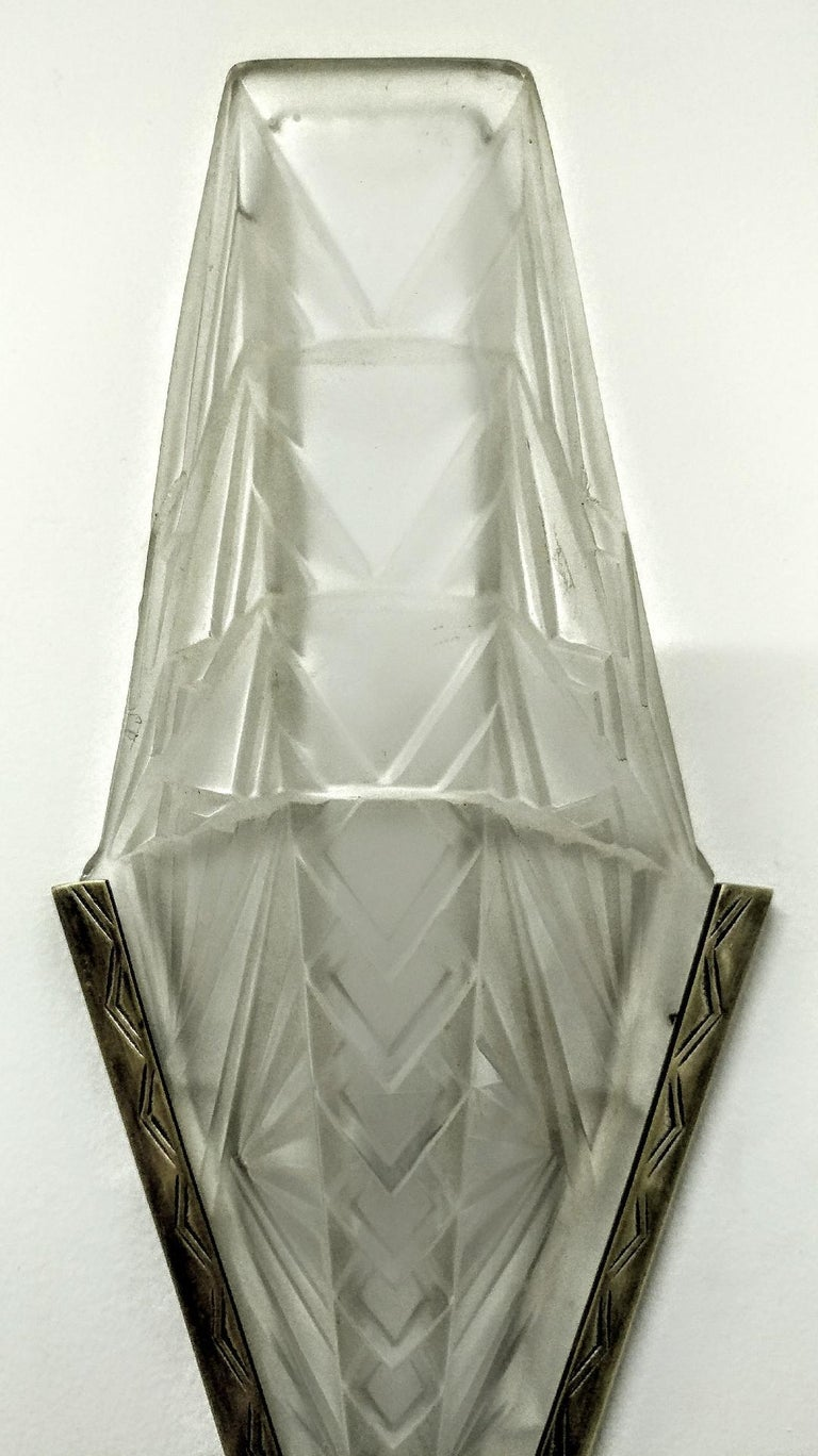 Pair of French Art Deco Geometric Wall Sconces by E.J.G. In Excellent Condition For Sale In Bronx, NY