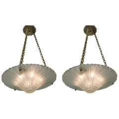 Pair of French Art Deco Glass Chandeliers with Bronze Mounting