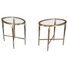 Pair of French Art Deco Glass Top Oval Solid Brass End Occasional Tables