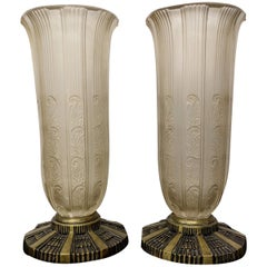 Pair of French Art Deco Glass Vases by Hettier & Vincent