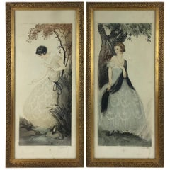 Pair of French Art Deco Gravures by J. Hardy, Signed and Copyrighted