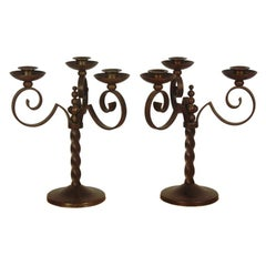 Pair Of French Art-Deco Iron Candelabra