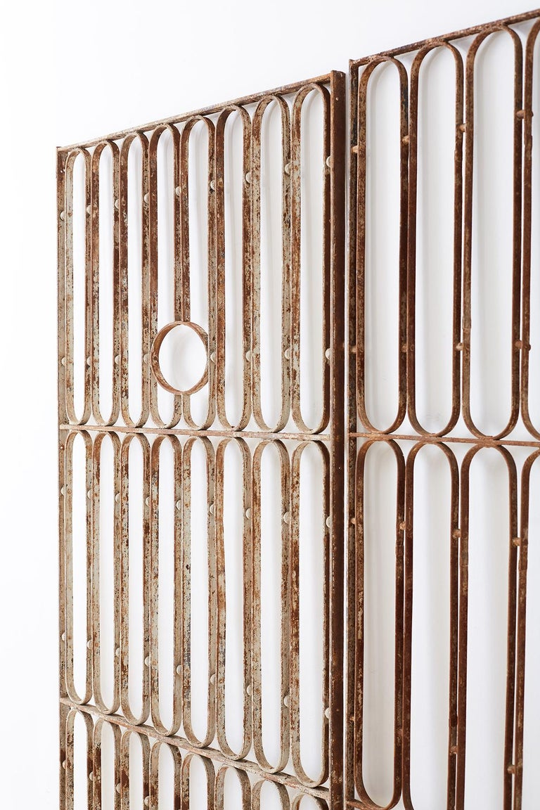Pair of French Art Deco Iron Doors Gates or Grills For Sale 5