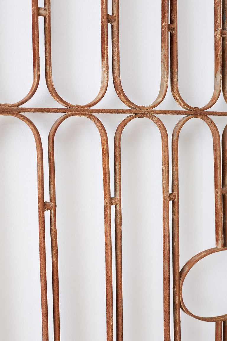 Pair of French Art Deco Iron Doors Gates or Grills For Sale 3