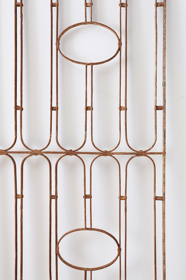 Pair of French Art Deco Iron Doors Gates or Grills For Sale 4