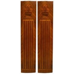 Pair of French Art Deco Kingwood Veneered Pilaster Panels