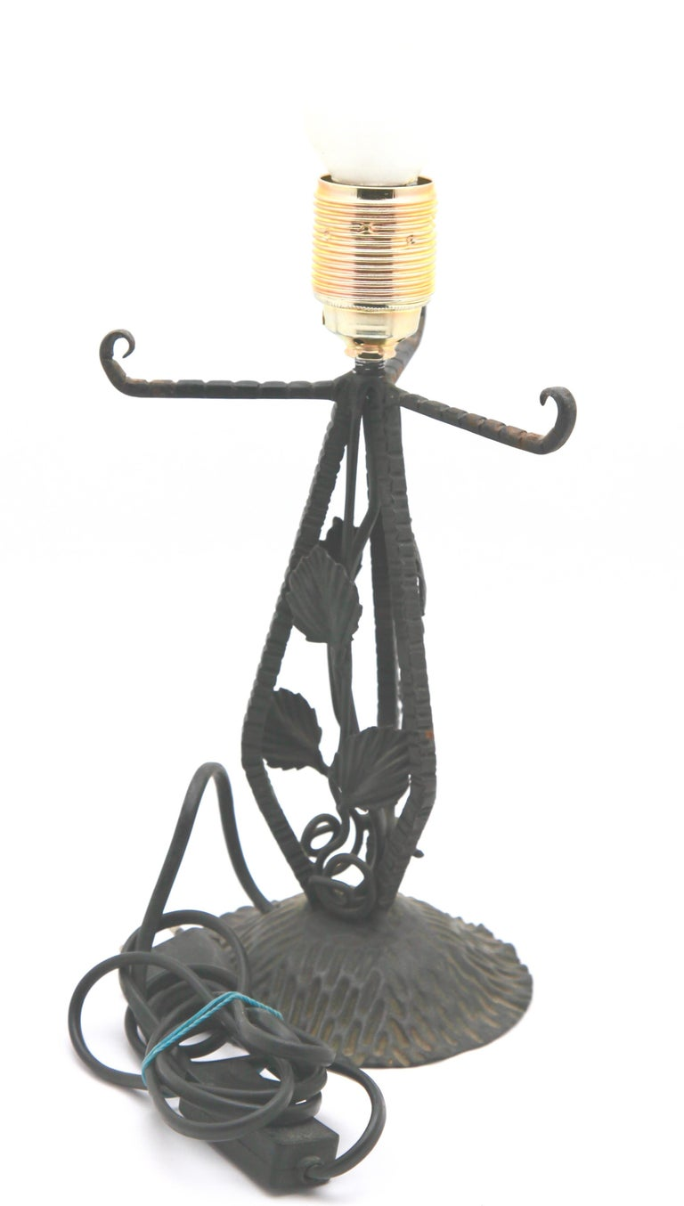 Pair of French Art Deco Lamps in Wrought Iron with Colored Glass Shades Signed For Sale 3