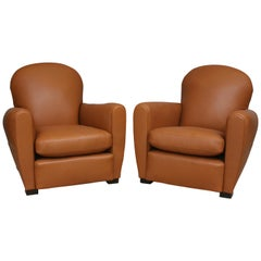 Pair of French Art Deco Leather Club Chairs, New Upholstery