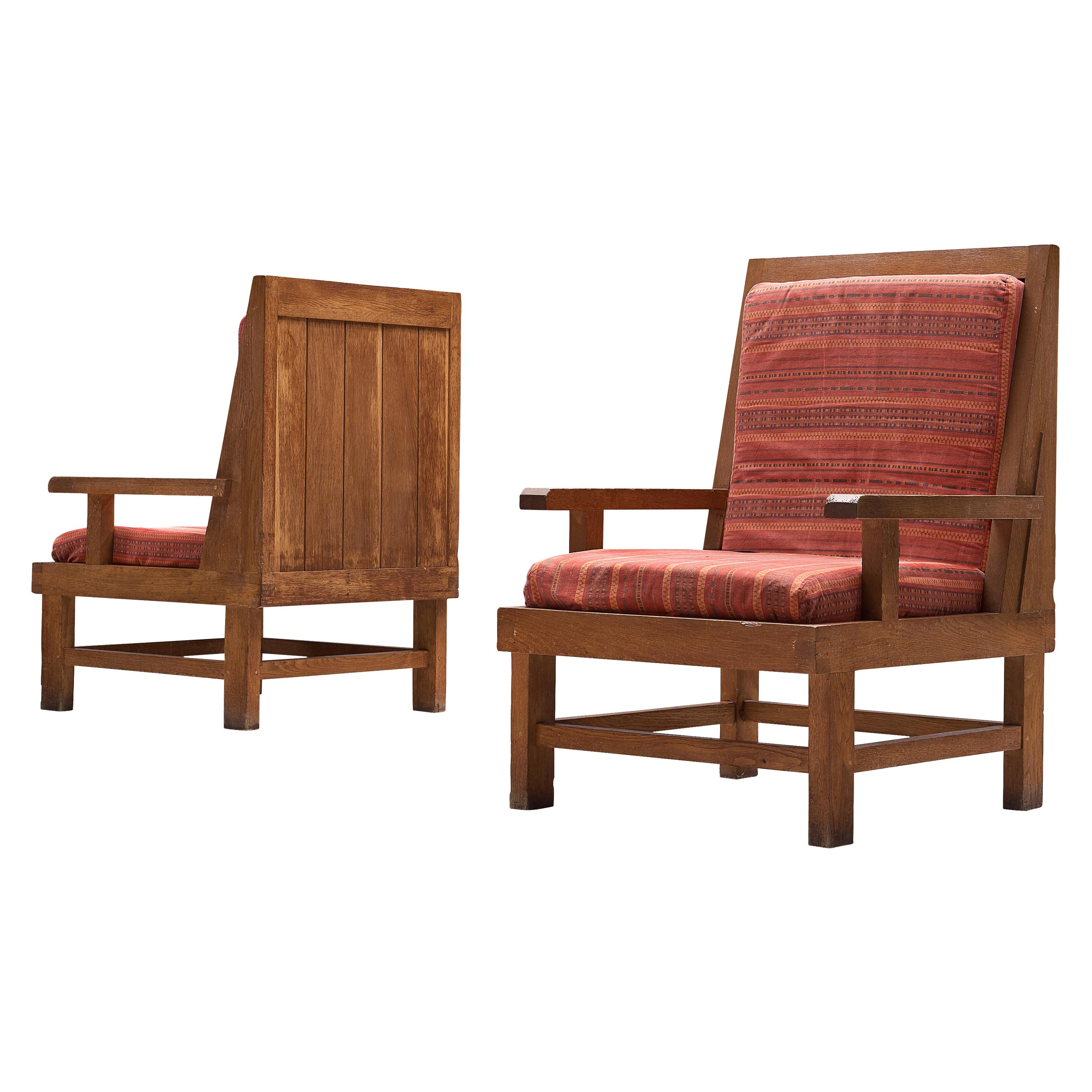 Pair of French Art Deco Lounge Chairs in Oak